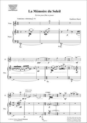 La Memoire du Soleil. Version for flute and piano – Gualtiero Dazzi