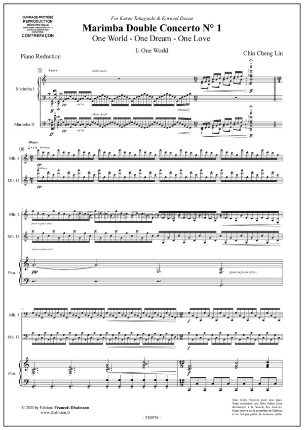 Double concerto N° 1 for marimbas. Piano reduction. - Chin-Cheng Lin